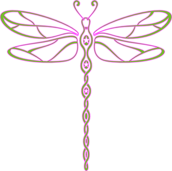 Pink And Green Dragonfly Clip Art At Clker Com   Vector Clip Art