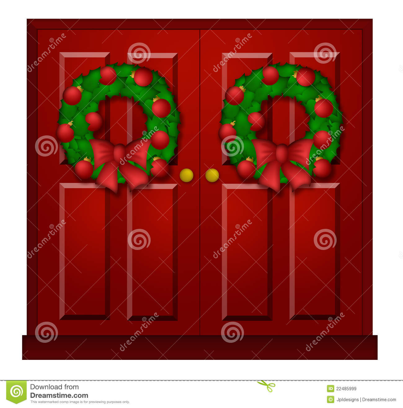 Red Door With Christmas Wreath Illustration Royalty Free Stock Images