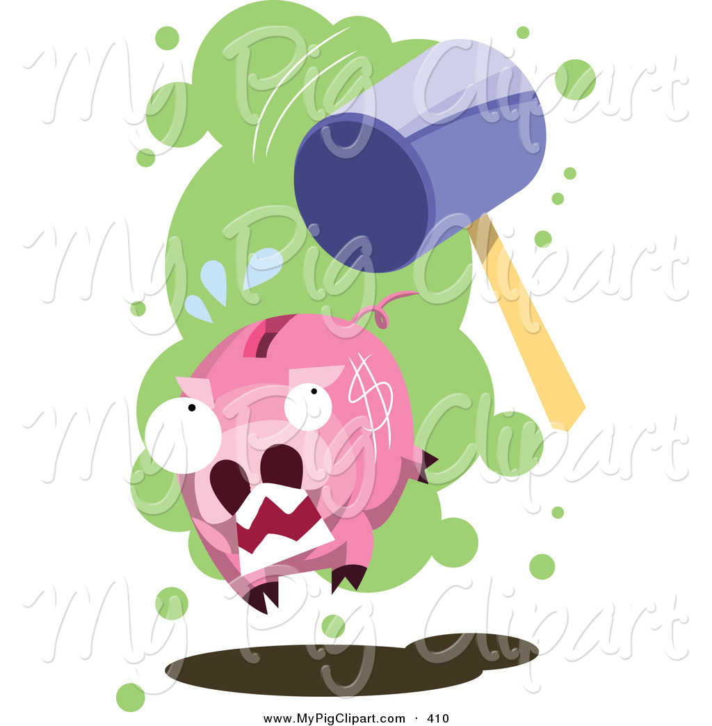 Swine Clipart Of A Big Stone Hammer Chasing After A Piggy Bank By
