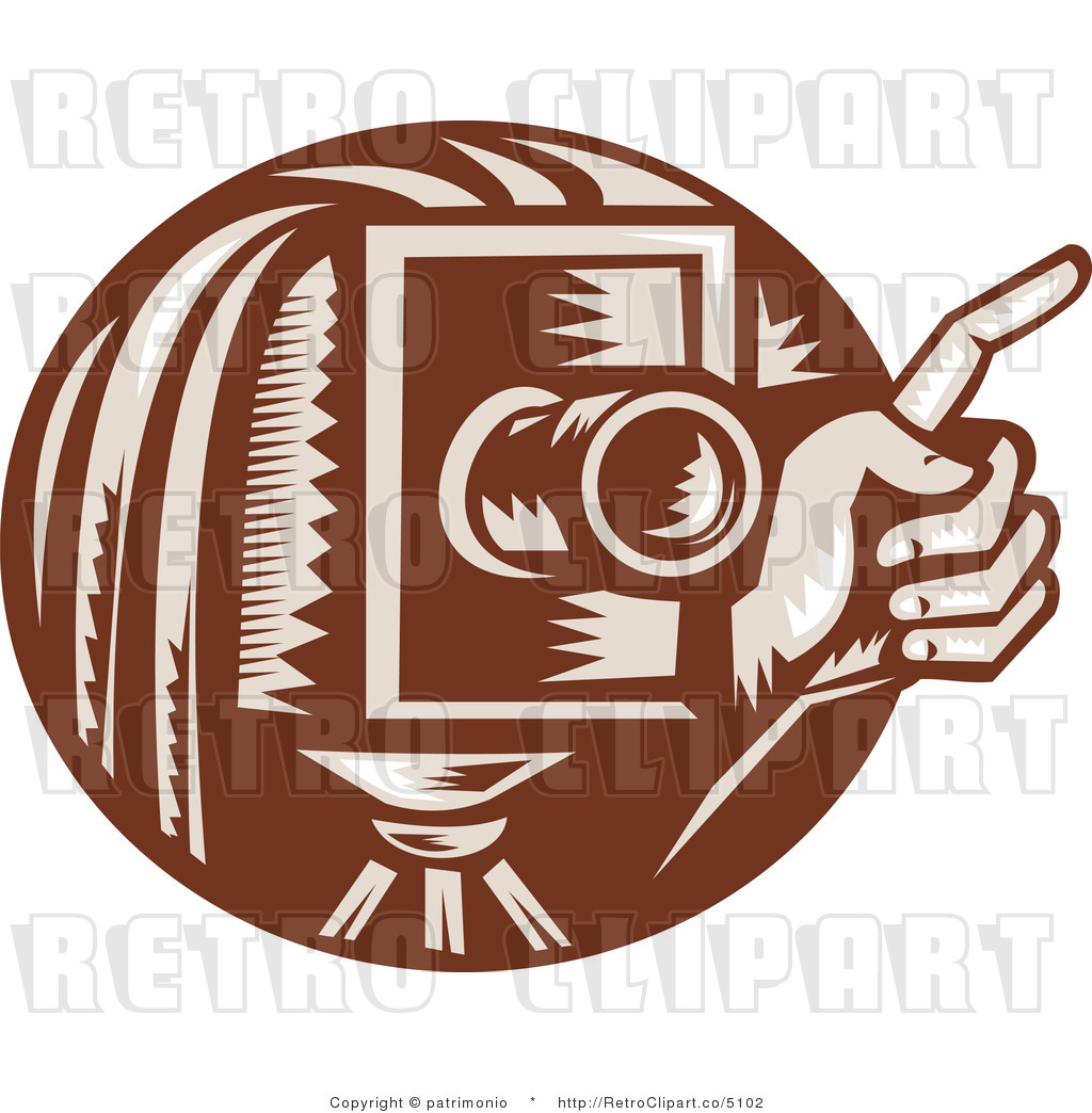 Vector Retro Clipart Of A Brown Box Camera And Photographer Hand By
