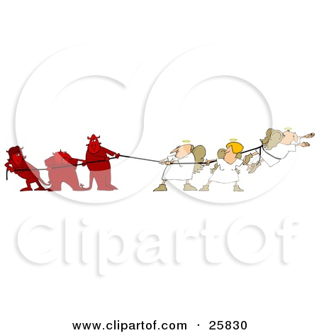 25830 Clipart Illustration Of Three Bad Devils Playing Tug Of War With