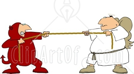 6008 Tug Of War Battle Between Good And Evil Devil And Angel Clipart
