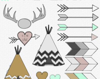 Antlers Arrows Hearts Tee Pee Clipart 13 Png Files Transparent