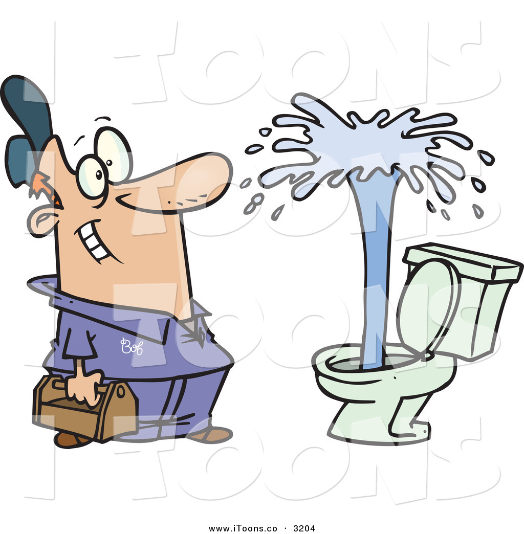 Art Of A Grinning And Happy Male Plumber Viewing A Geyser In A Toilet