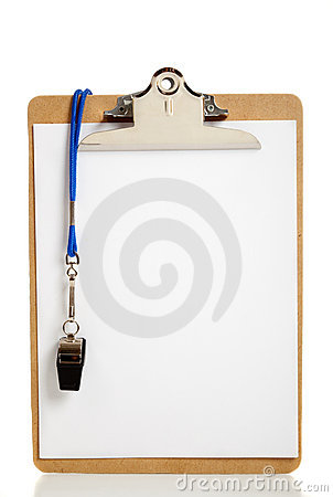 Blank Clipboard And Coaches Whistle Royalty Free Stock Photography