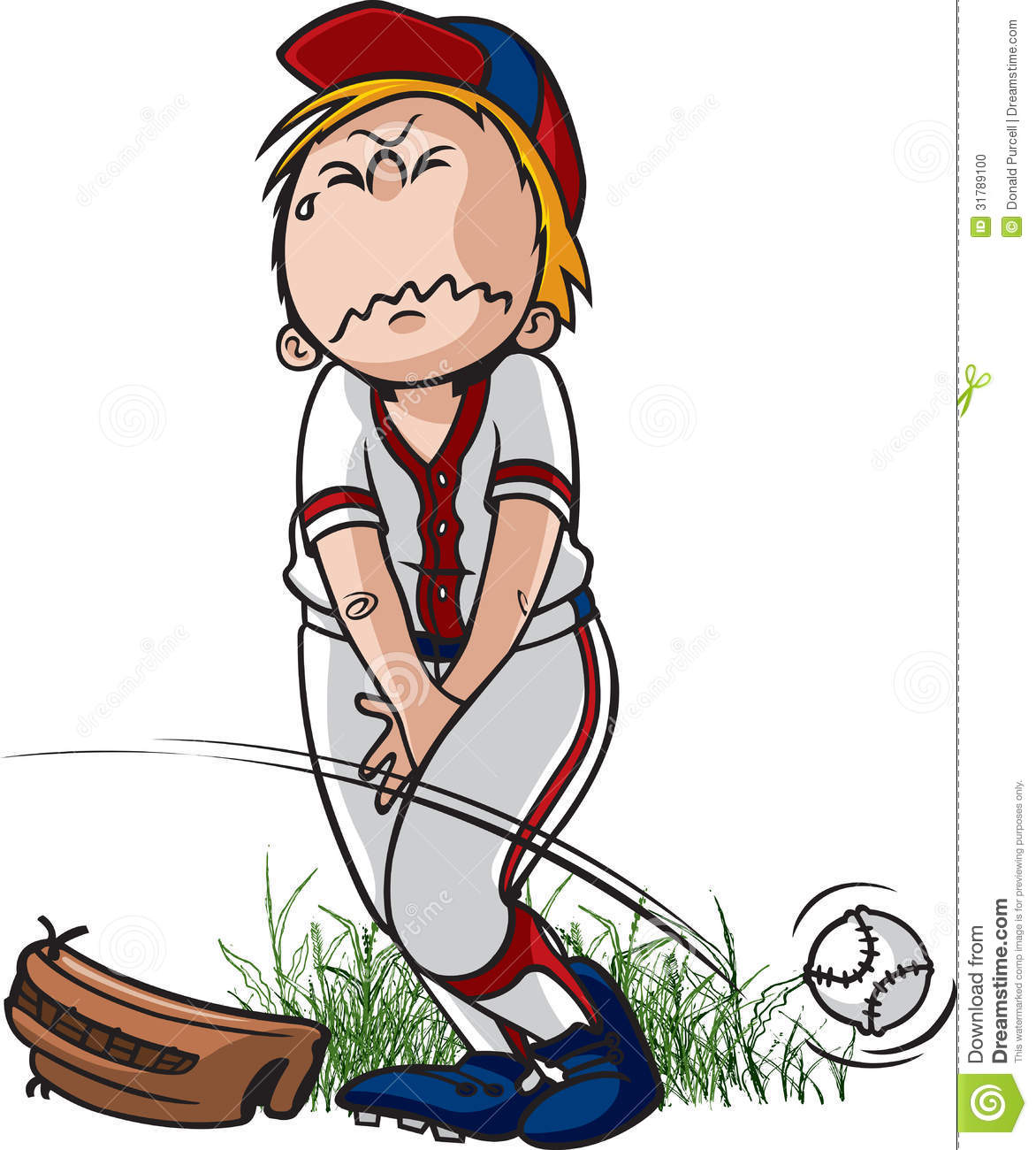 Cartoon Of A Little Leaguer Who Has To Pee  Vector And High