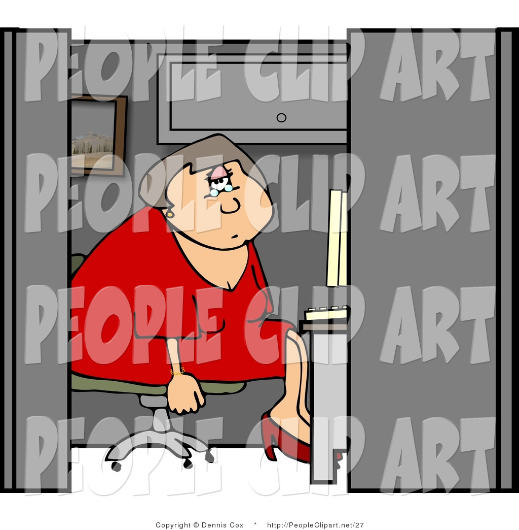 Clip Art Of A Bored Female Customer Service Rep Sitting In A Cubicle