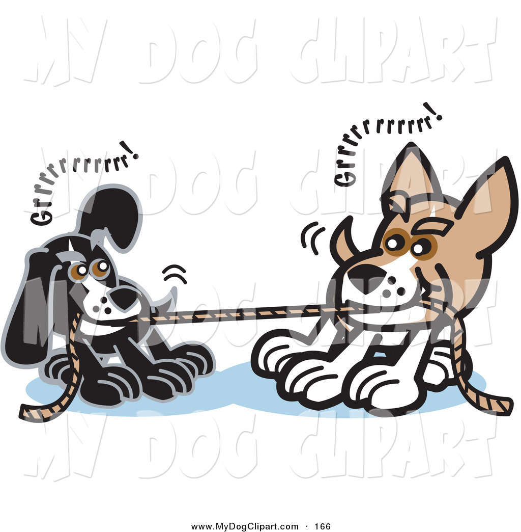 Clip Art Of A Couple Of Dogs Growling While Playing Tug Of War With A