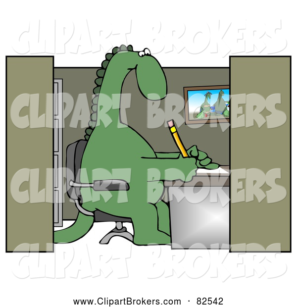Clip Art Of A Green Dinosaur Working In An Office Cubicle