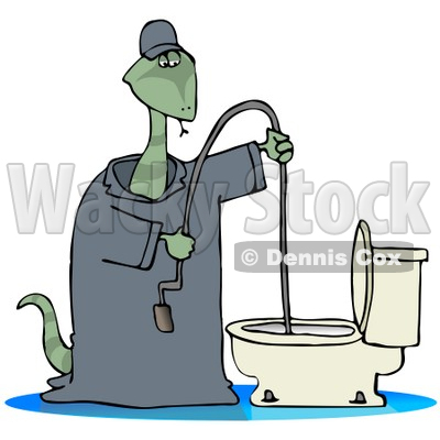 Clipart Illustration Of A Plumber Snake Using A Toilet Jack To Unclog