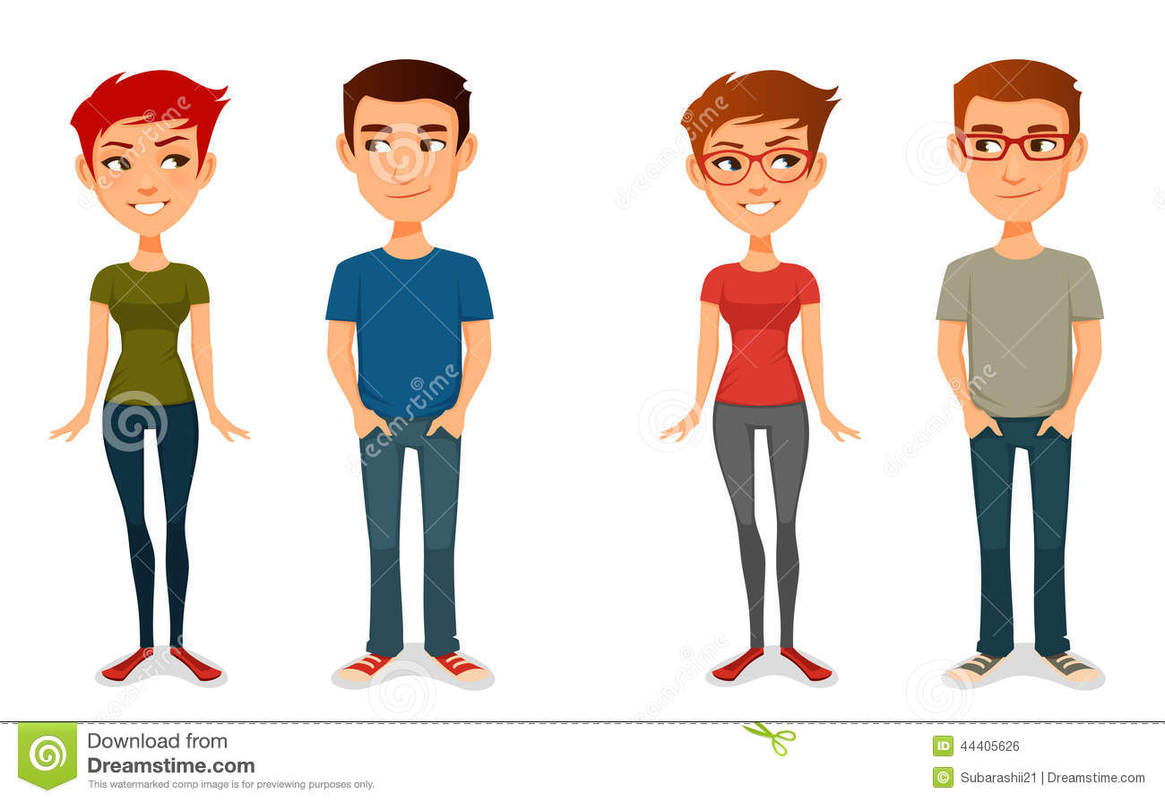 Cute Cartoon People In Casual Outfits Stock Vector   Image  44405626