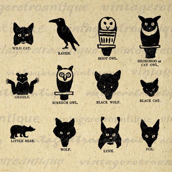 Digital Printable Native American Indian Animal Symbols Graphic