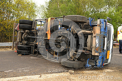 England  May 2 2012  Hampshire Uk A Lorry Laying On Its Side During A