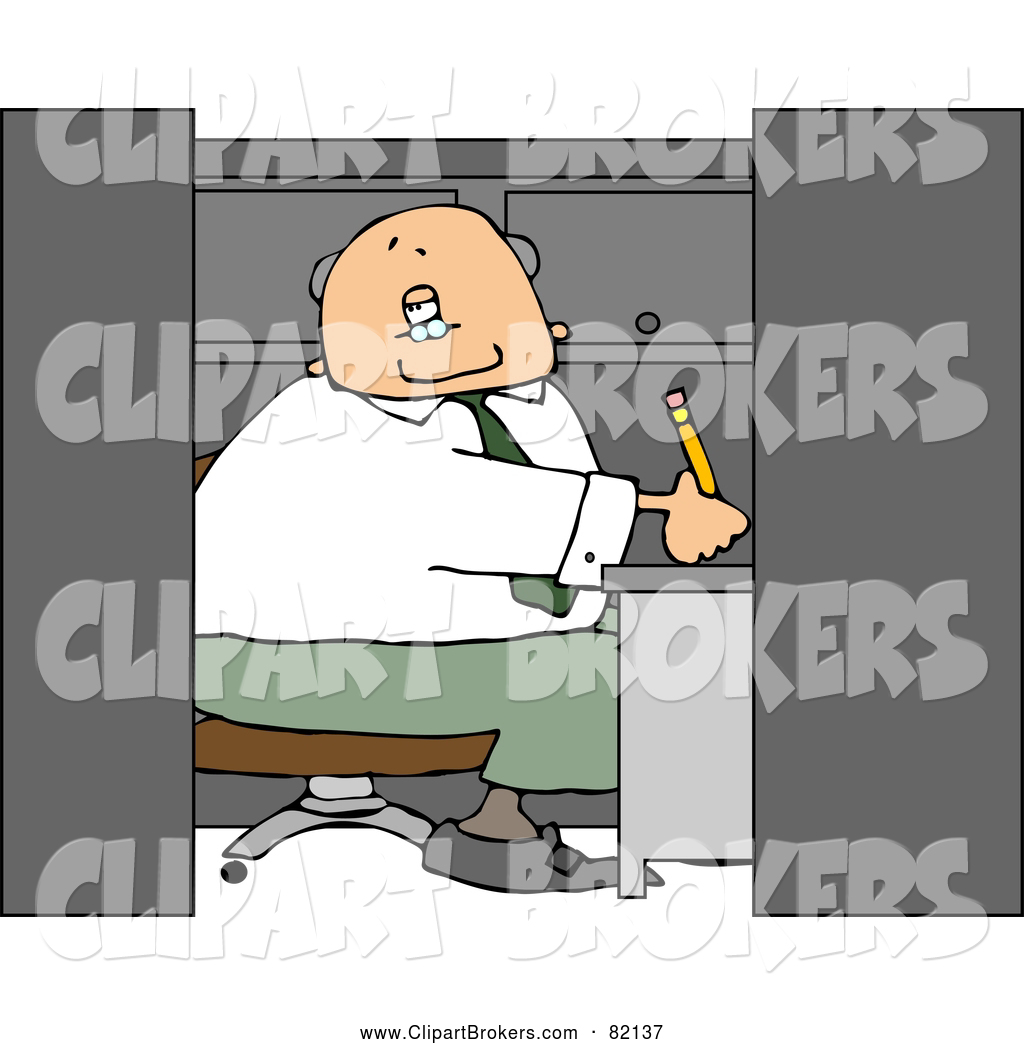 Larger Preview  Clip Art Of A Caucasian Elderly Businessman Working In