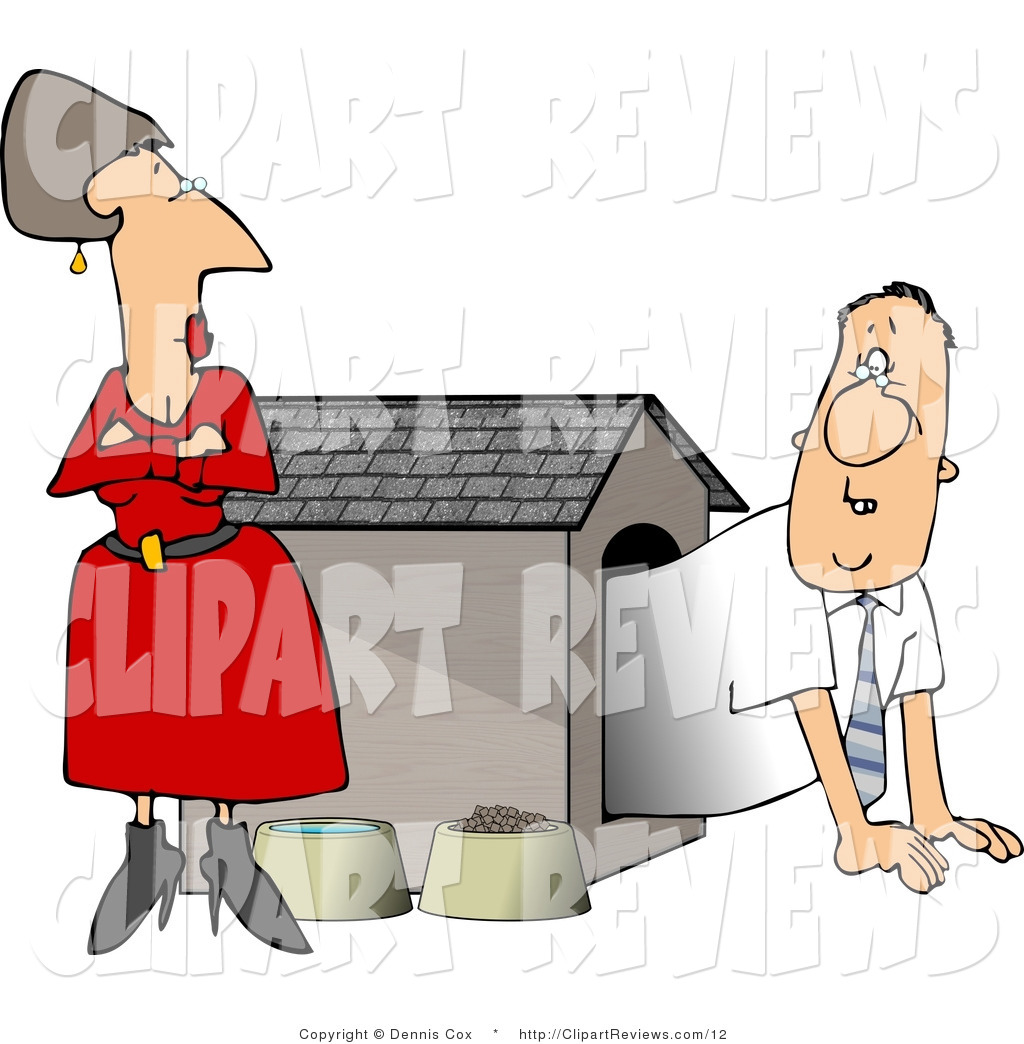 Larger Preview  Clip Art Of A Punished Hubby In A Dog House Being