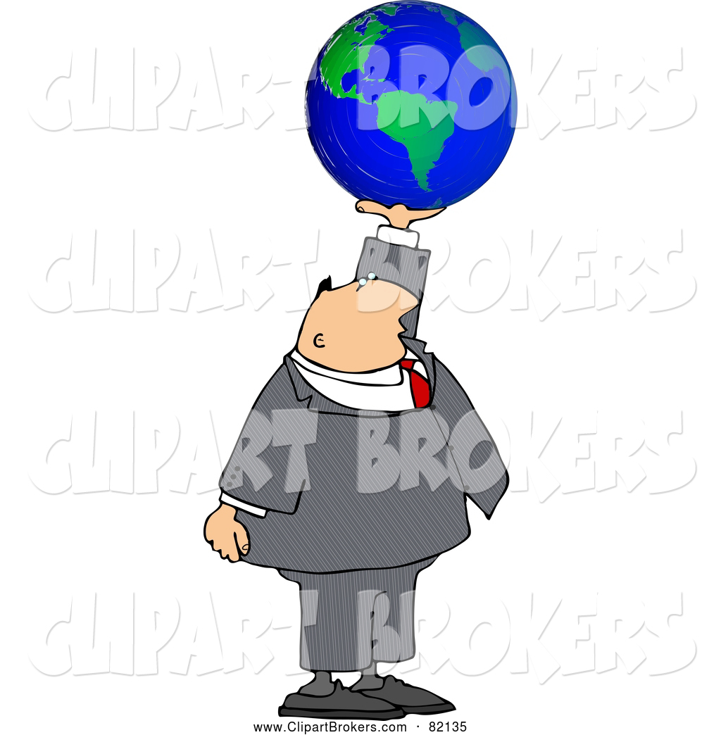 Larger Preview  Clip Art Of A White Businessman Holding The World In