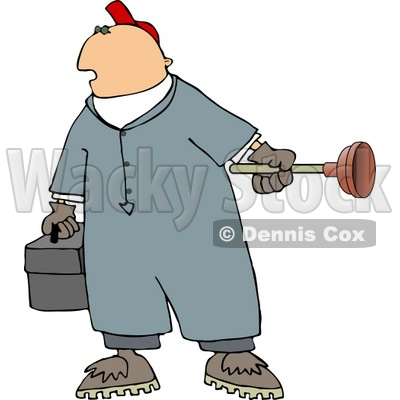 Man Holding A Toolbox And Toilet Plunger Clipart   Djart  5051
