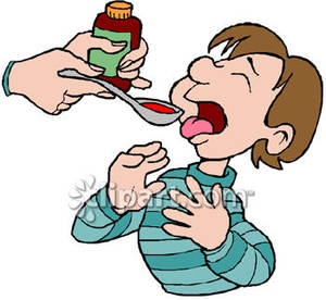 Of A Little Boy Taking Cough Syrup   Royalty Free Clipart Picture