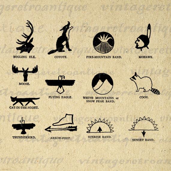 Printable Native American Indian Symbols Digital Download Graphic
