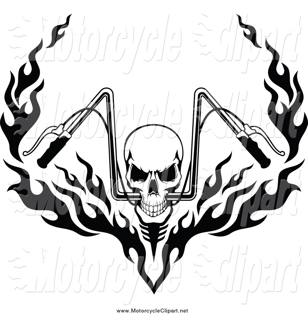 Skull With Fiery Motorcycle Handlebars Motorcycle Clip Art Seamartini