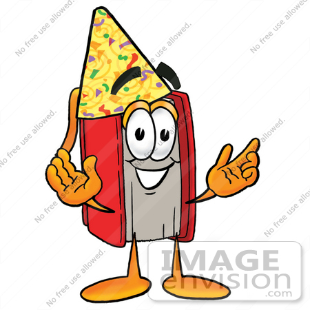 22557 Clip Art Graphic Of A Book Cartoon Character Wearing A Birthday