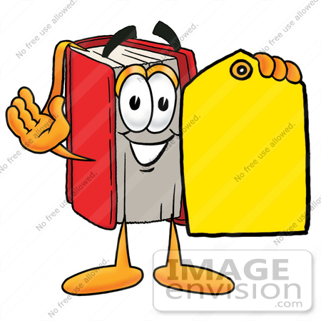 22577 Clip Art Graphic Of A Book Cartoon Character Holding A Yellow