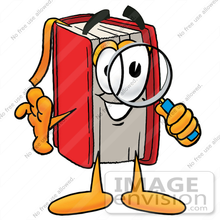22585 Clip Art Graphic Of A Book Cartoon Character Looking Through A