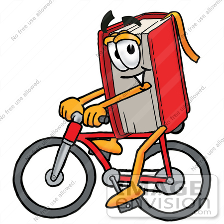 22605 Clip Art Graphic Of A Book Cartoon Character Riding A Bicycle By