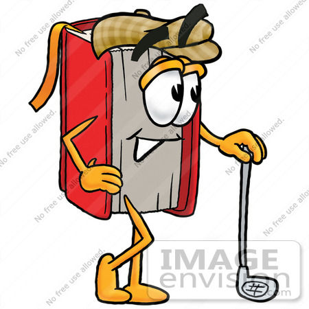 22609 Clip Art Graphic Of A Book Cartoon Character Leaning On A Golf