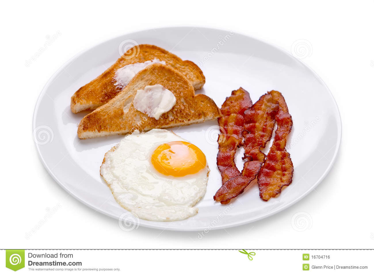 Bacon Eggs And Toast Breakfast On White Plate On White Background
