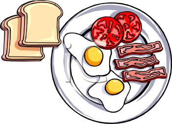 Bacon Eggs Tomatoes And Toast Clipart Image   Foodclipart Com