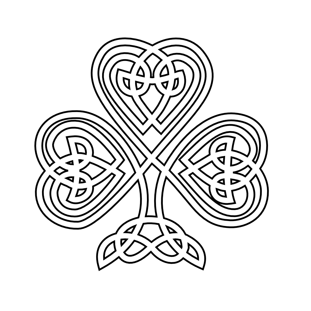 Celtic Shamrock Black White Line Flower Art Coloring Sheet Colouring