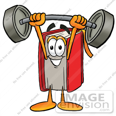 Clip Art Graphic Of A Book Cartoon Character Holding A Heavy Barbell
