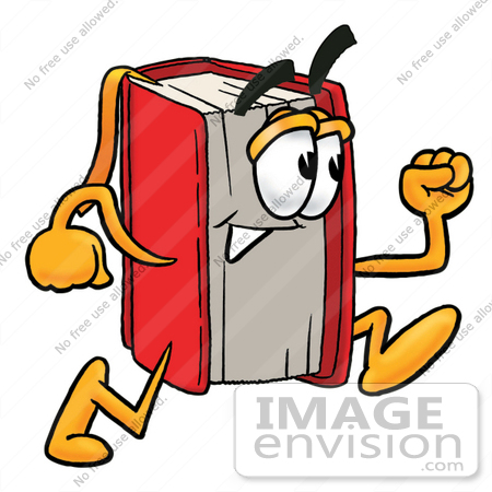 Clip Art Graphic Of A Book Cartoon Character Running   0025 0802 2015