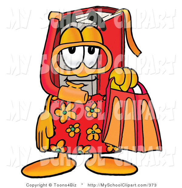 Clip Art Of A Tourist Red Book Mascot Cartoon Character In Orange And
