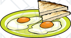 Clipart Illustration Of Two Fried Eggs Served With Toast
