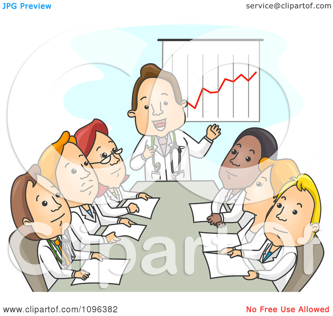 Clipart Male And Female Doctors Discussing Finances In A Meeting