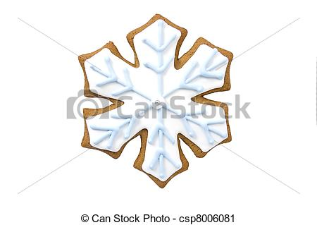 Clipart Of Gingerbread Snowflake Cookie With Tiny White Snowflakes On