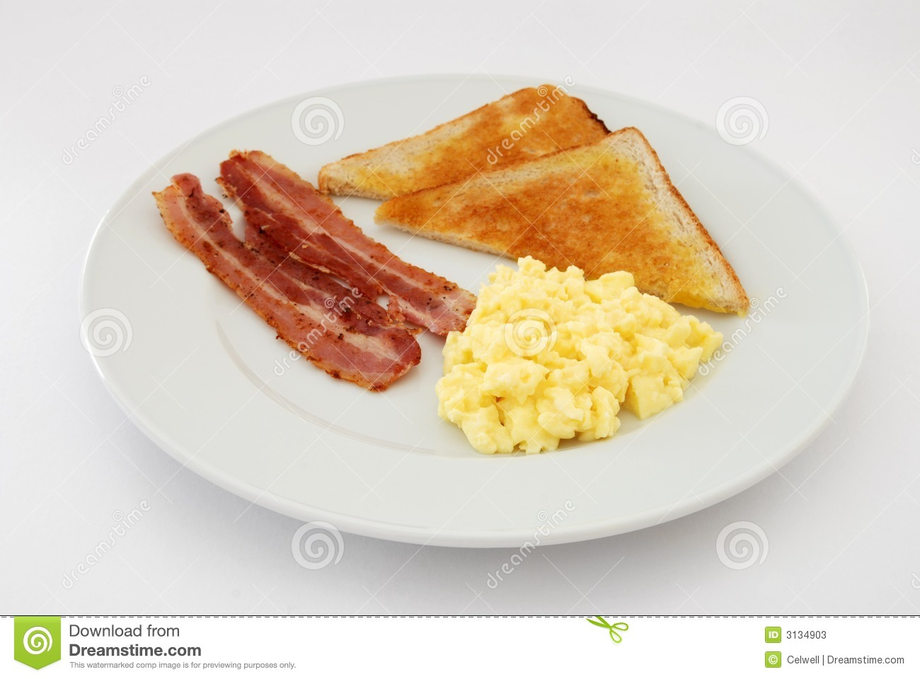 English Breakfast Of Scrambled Eggs   Bacon With Hot Buttered Toast