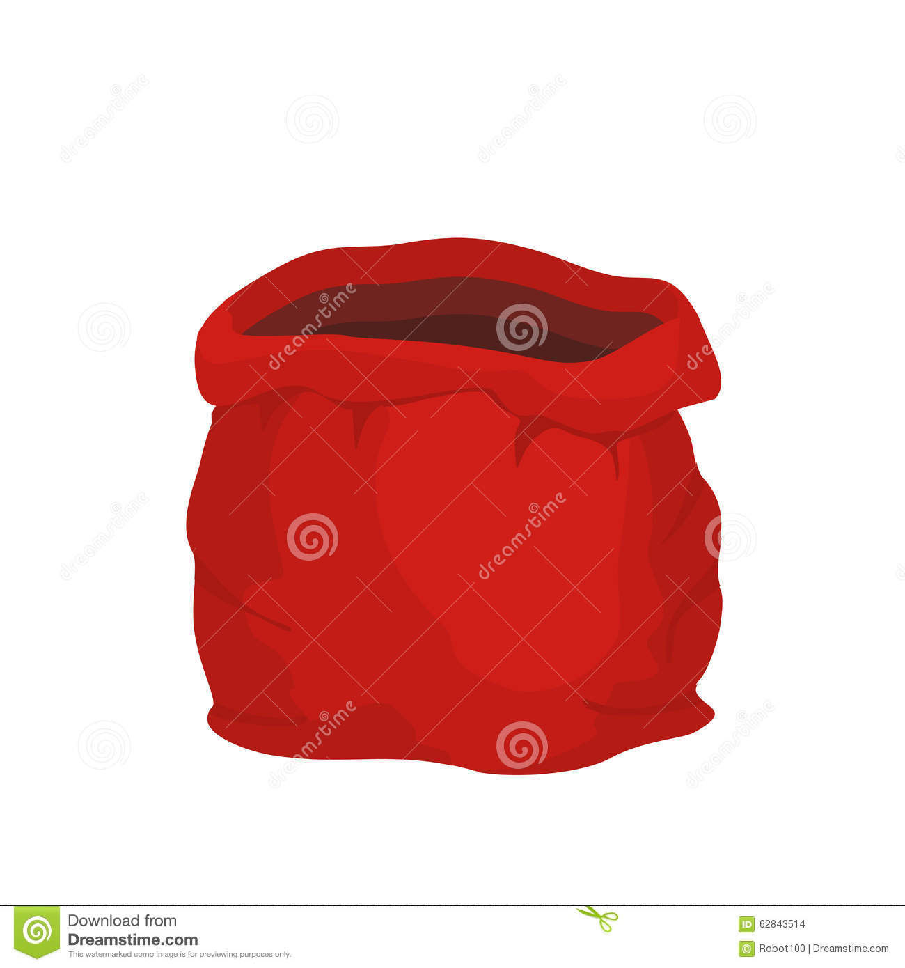 Open Empty Sack Santa Claus  Red Big Bag For Gifts  Stock Illustration