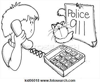 Stock Illustration   Illustration Of Child Using Telephone To Dial 911
