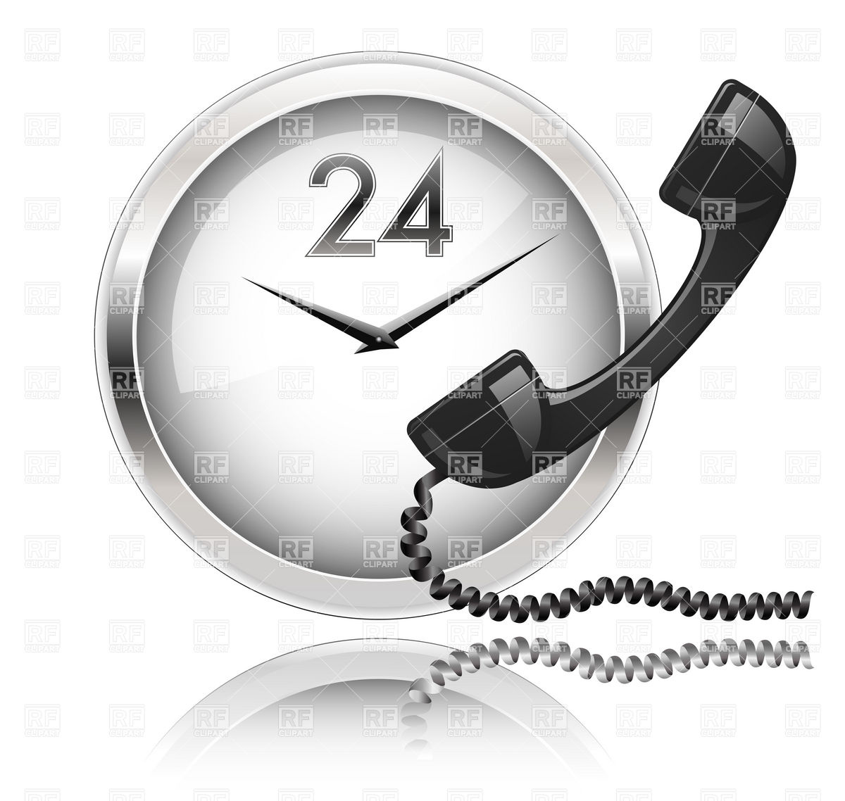 Wall Clock And Telephone Receiver Download Royalty Free Vector Clipart