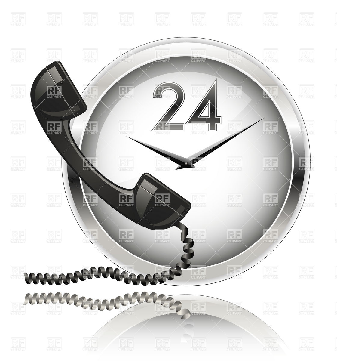 Wall Clock And Telephone Receiver   Round The Clock Support 5392