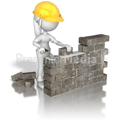 Woman Brick Wall Construction   3d Figures   Great Clipart For