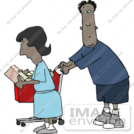 African American Couple Shopping Clipart    13061 By Djart   Royalty