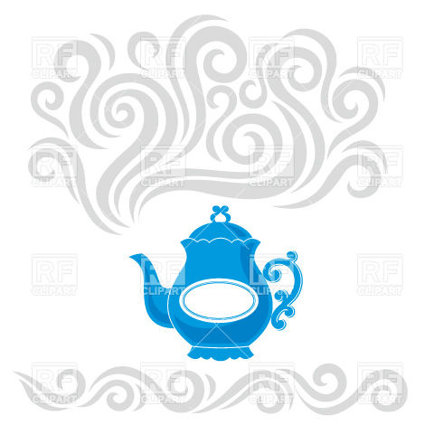 Blue Cartoon Boiling Kettle With Steam Objects Download Royalty Free