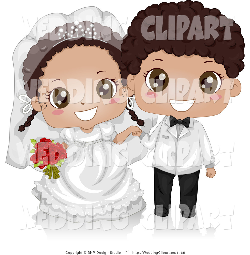 Happy Cute African American Kid Wedding Couple Wedding Retro Black And
