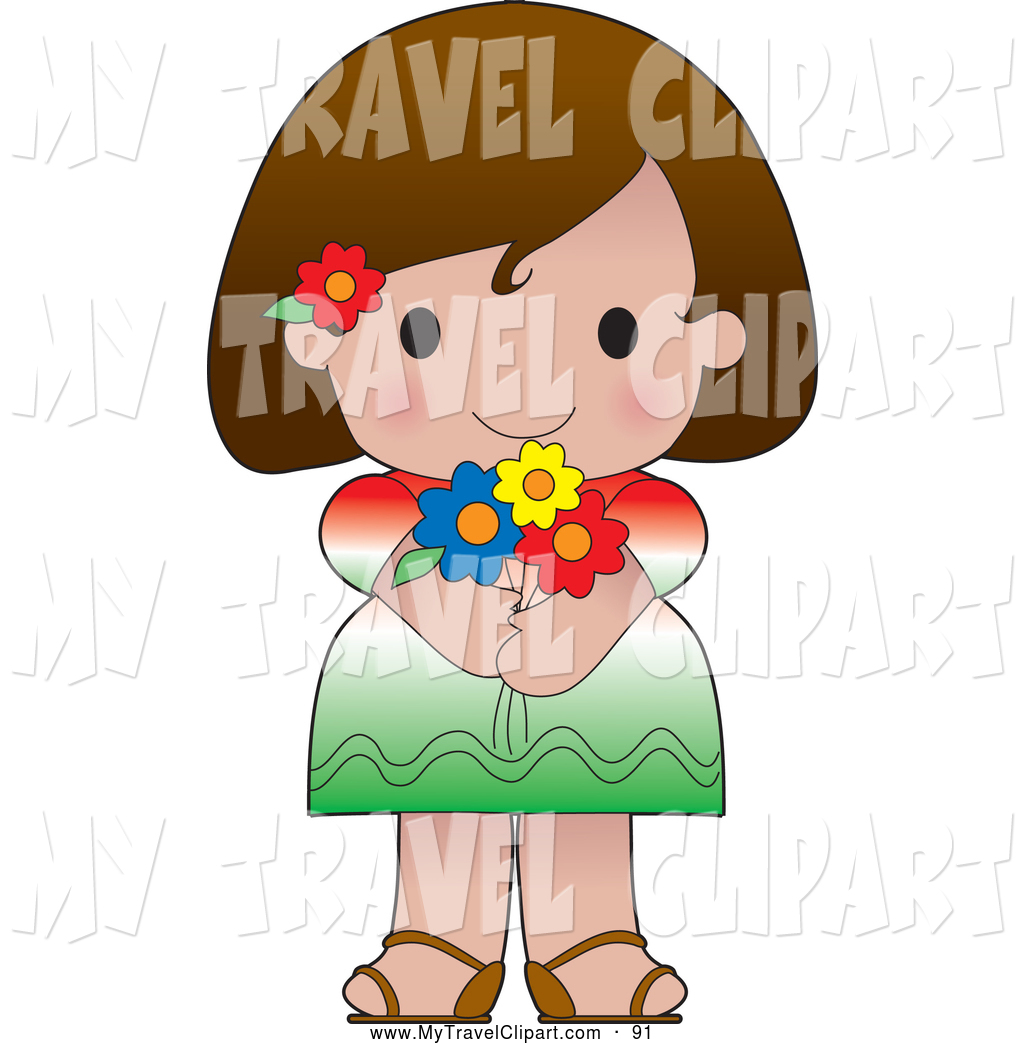 Larger Preview  Clipart Of A Friendly Cute Mexican Girl Wearing A Flag