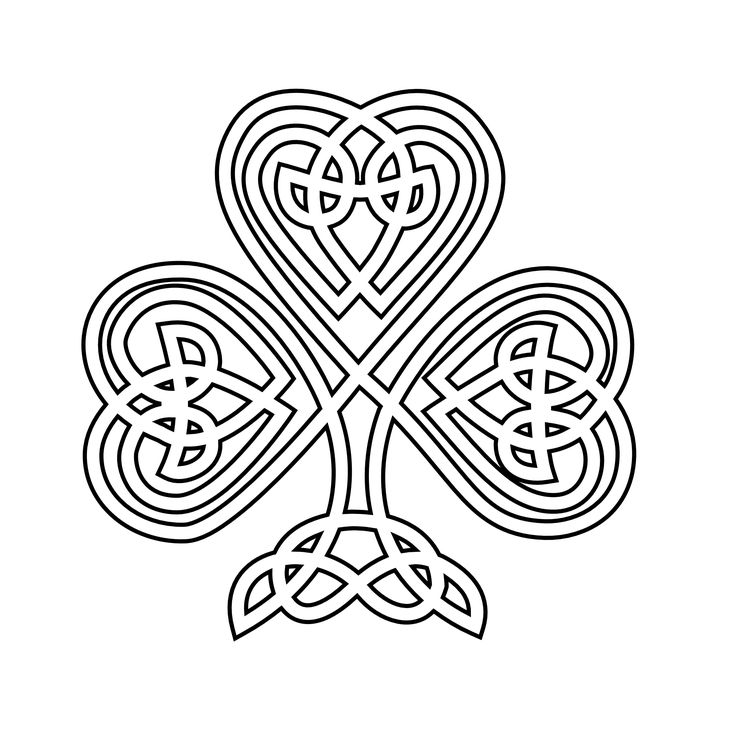 Shamrock   Celtic Shamrock Black White Line Flower Art Coloring Sheet