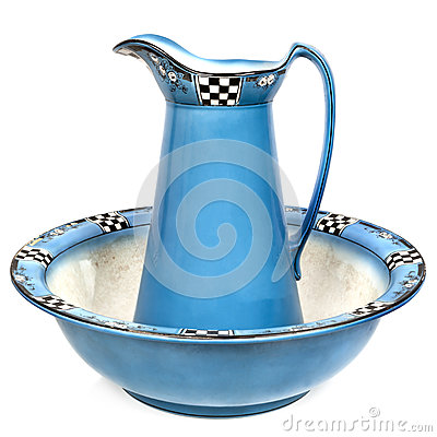 Antique Wash Basin And Water Jug Isolated Royalty Free Stock Photo
